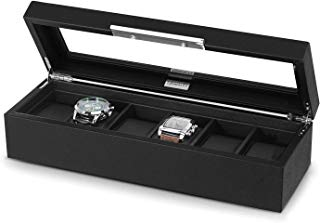 Lifomenz Co 6 Slot Leather Watch Box Display Case Organizer Glass Window Watch Storage Box,Black PU Leather Lining with Large Holder