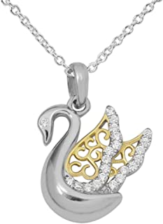 "Women's Sterling SilverTwo-Tone Cubic Zirconia Swan Pendant Necklace, 18"" Chain"