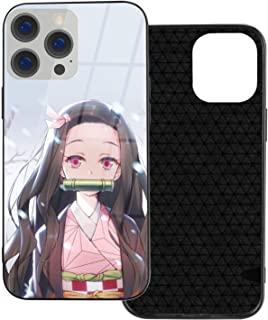 Auralto Phone Case for iPhone 12 Pro, Anime Demon Slayer Kamado Nezuko Tempered Glass Back Shockproof Cover with Soft TPU ...