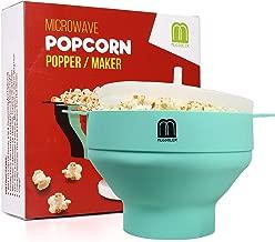 MUGOOLER Microwave Popcorn Popper Silicone Popcorn Maker Collapsible Bowl BPA Free (Light Blue)