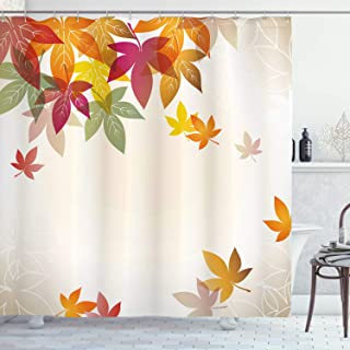 Ambesonne Fall Shower Curtain, Silhouettes of Maple Tree Leaves in Pastel Colors Classical Shady Nature Graphic Image, Cloth Fabric Bathroom Decor Set with Hooks, 75