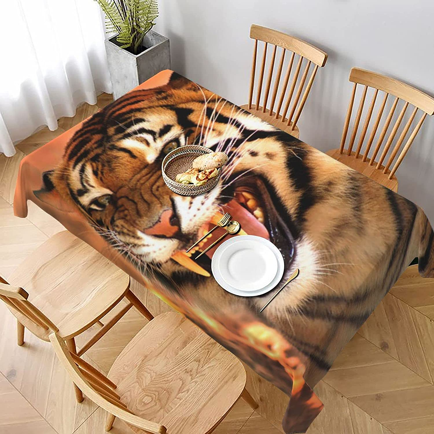 Indoor Outdoor SALENEW Fashionable very popular Rectangle Print Tablecloth Dust- face Angry Tiger