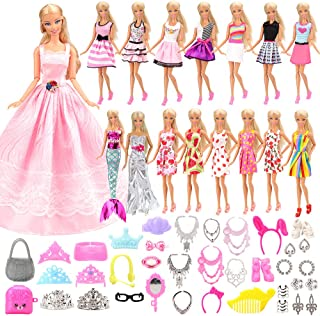 Barwa 55 Pcs Doll Clothes and Accessories Set EU CE-EN71 Certified Include 15 Clothes Party Grown Outfits + 40 Different D...
