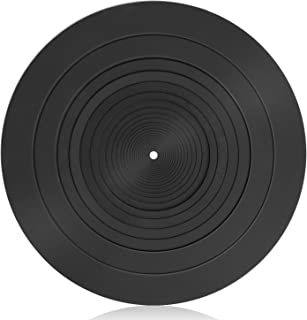 Facmogu Turntable Mat, 12 inch Turntable Platter Mat, Black Rubber Silicone Mat for Universal to All LP Vinyl Record Playe...