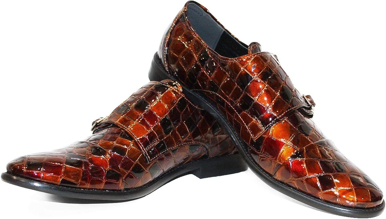Modello Trraga - Handgjorda italienska läderskor, bspringaaaa munkskor, dresserade Oxfordskor - Cowhide Patent läder - Buckle