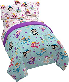Jay Franco Fingerlings Monkey Around 4 Piece Twin Bed Set - Includes Reversible Comforter & Sheet Set - Super Soft Fade Resistant Polyester - (Official Fingerlings Product)