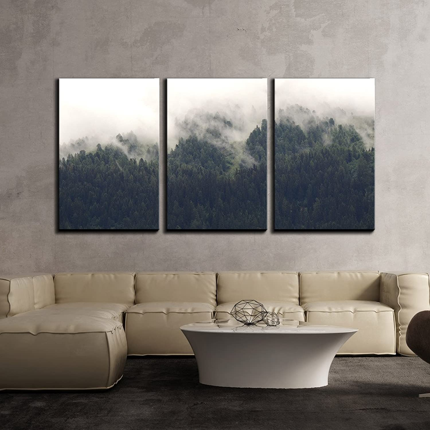 Wall26 - 3 Piece Canvas Wall Art - Landscape of Trees Forest in Mist - Modern Home Decor Stretched and Framed Ready to Hang - 24 x36 x3 Panels