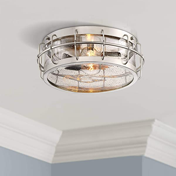 Aya 13 1 4 Wide Satin Nickel Caged Metal Ceiling Light Possini Euro Design