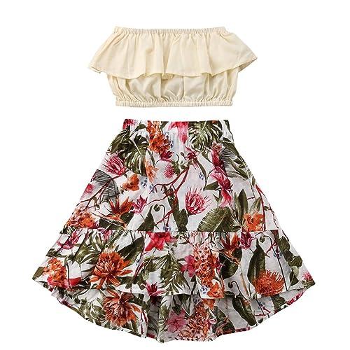 8fe9b6313e Summer Little Girl Summer Dress Pleated Tube top Floral Print Long Skirt