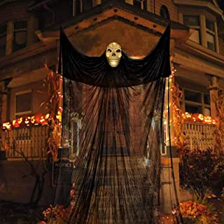 SJEhome Scary Hanging Ghost Halloween Decorations Outdoor Indoor Sound Activated Large Flying Ghost with Glowing Eyes and ...
