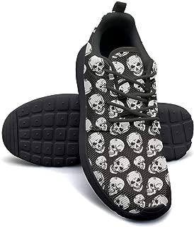 VXCVF Dancing Skull Black White Skull Mens Guys Running Shoes for Mens Breathable and Lightweight Athletic