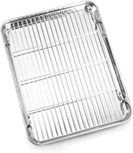 Bastwe Baking Sheet and Cooling Rack Set, Stainless Steel Commercial Grade Cookie Sheet and Rack Set, 12.5 x 10 x 1 inch, Healthy & Nontoxic & Rustproof & Easy Clean & Dishwasher Safe