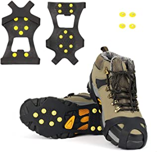 SYOURSELF Ice Cleats Snow Grips Overshoes Boots, Anti-Slip Silicone Portable Walk Traction Cleats Stainless Steel Spikes for Walking, Jogging, Hiking, Climbing, Fishing, Dog, Kids (S M L XL)