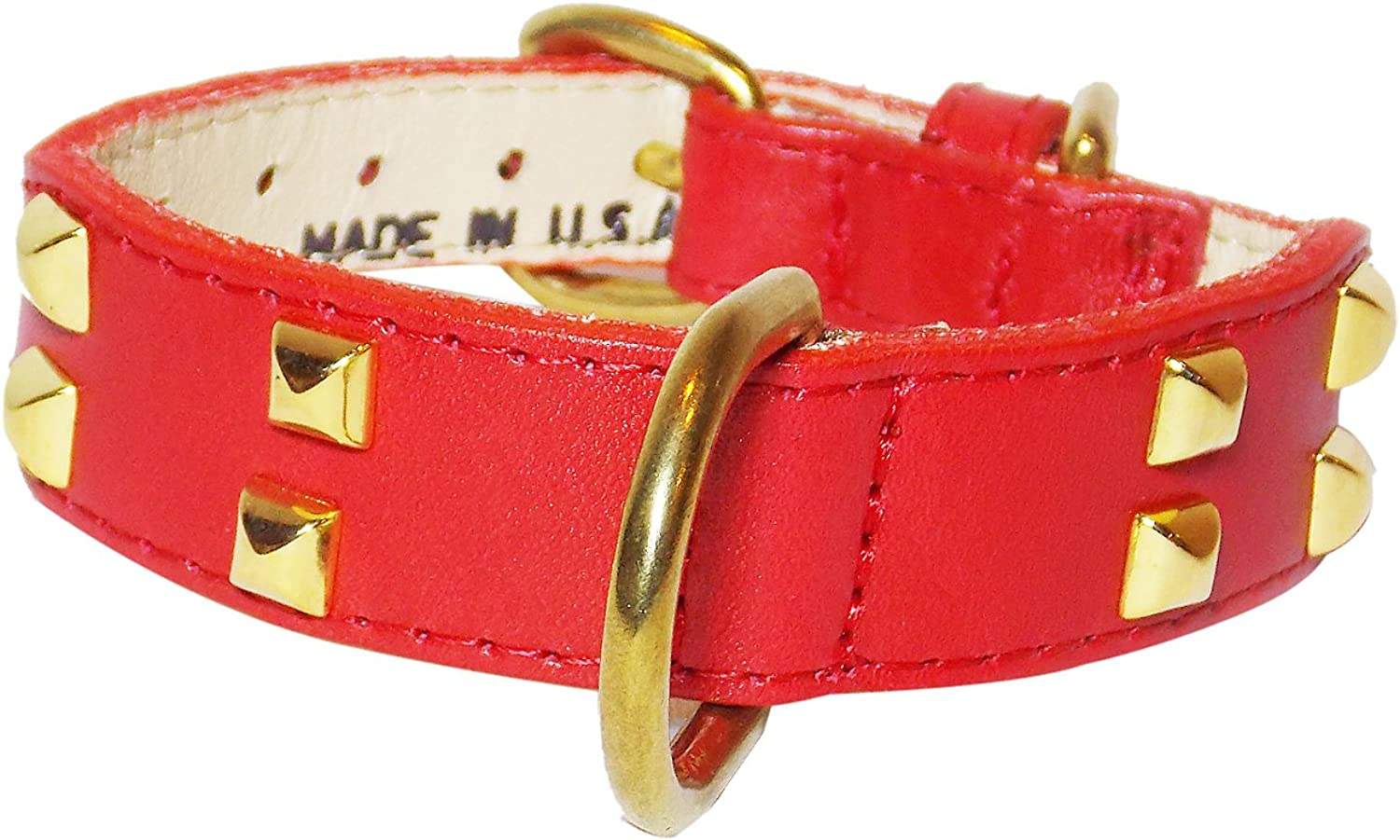 Double Row Pyramid Tapered Dog Collar, Small Size 911, Red with Brass Pyramids