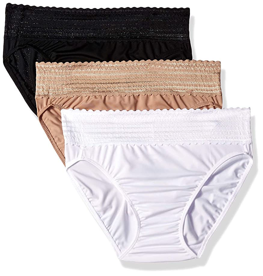 Warner's Women's No Pinching No Problems with Lace Hi-Cut 3 Pack Panties