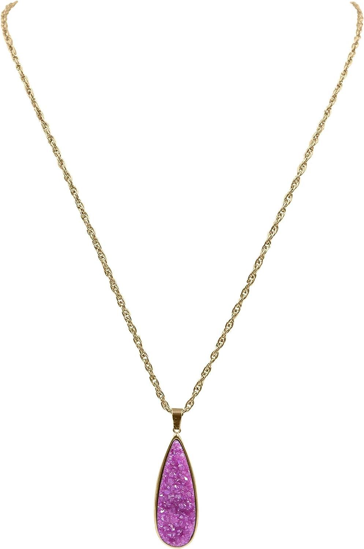 Kinsley Armelle Druzy Collection - Blush Quartz Drop Necklace