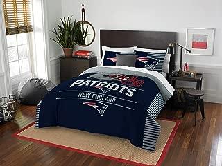 New England Patriots - 3 Piece FULL / QUEEN Size Printed Comforter Set - Entire Set Includes: 1 Full / Queen Comforter (86