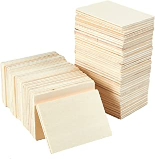 Unfinished Wood Pieces - 36-Pack Wooden Rectangle Cutout, Natural Rustic Craft Wood for Home Decoration, DIY Supplies, 3.5 x 2.5 x 0.28 inches
