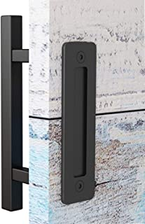 EaseLife 12 Inch Sliding Barn Door Handle with Flush Finger Pull,Ultra Sturdy,Black Powder Coated Finished,Square