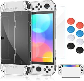 Dockable Case for Nintendo Switch OLED Model with Screen Protector and Thumb Grips Cap, MENEEA Clear PC Hard All-Round Pro...