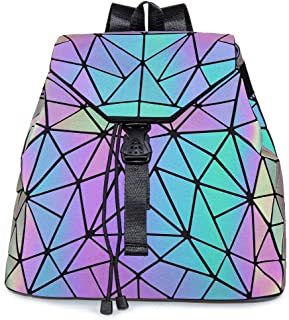 HotOne Shard Lattice Design Geometric Backpack Holographic Reflective Backpacks PU Leather Fashion Backpack (Luminous No.4)