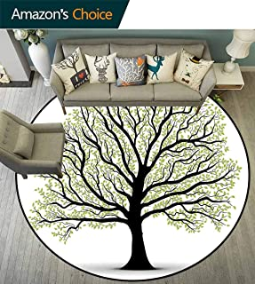 Tree of Life Round Rug with Fringe,Big Lush Tree with Lot of Leaves and Branches Nature Trust Home Artprint for Office,Black White Green,D-51