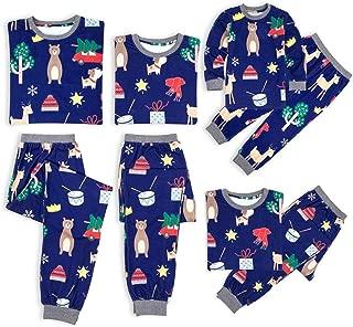 Weixinbuy Christmas Family Matching Pjs Set Women Men Kids Baby Cartoon Pattern Round Collar Pajamas Set Sleepwear