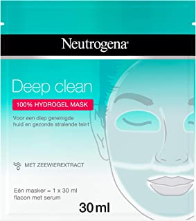 Neutrogena Deep Clean Hydrogel Mask, Hydrogelmasker met zeewierextract en 100% hydrogel voor een diep gereinigde huid en g...