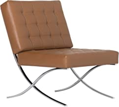 Studio Designs Home Modern Atrium Accent Chair Lounge Chair for Living Room, Bedroom, Bonded Leather, Caramel Brown,