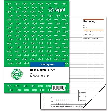 Sigel Re525 Rechnungen A5 2x50 Blatt Bürobedarf Schreibwaren