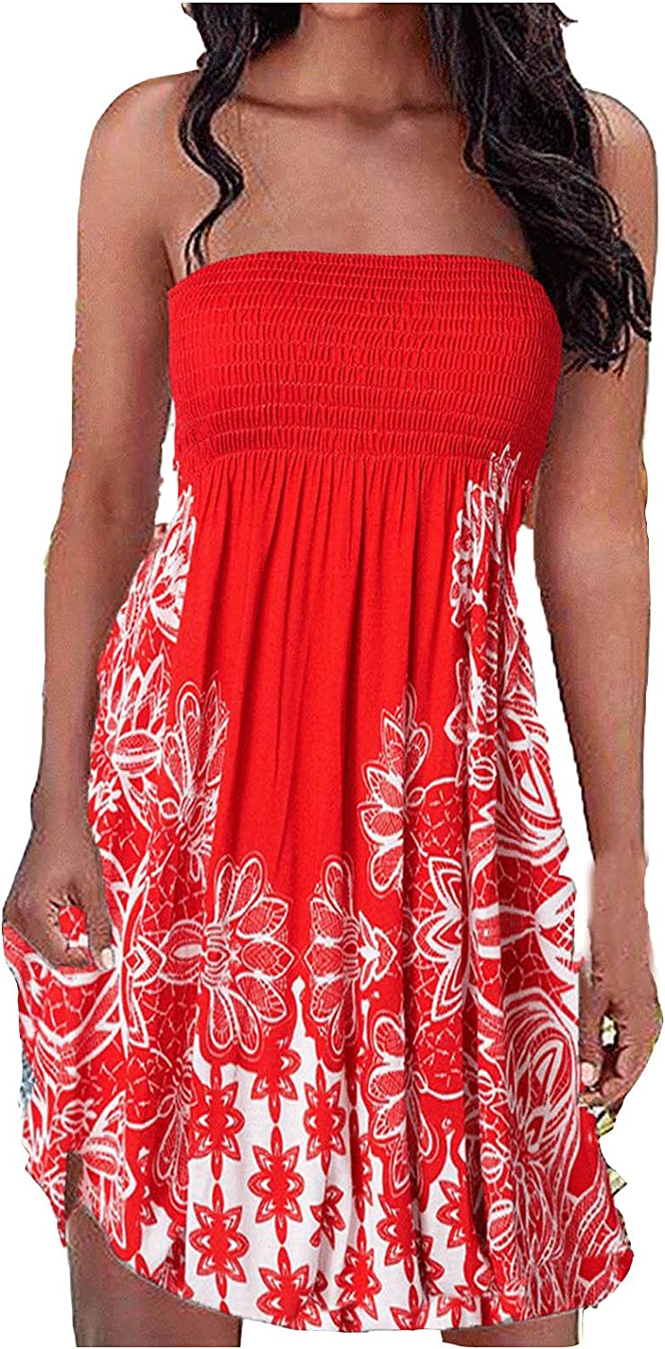 Summer Strapless Elastic Ruched Tube Top Dress for Womens Beach Cover Ups Boho Floral Ethnic Vintage Tie Dye Sundress