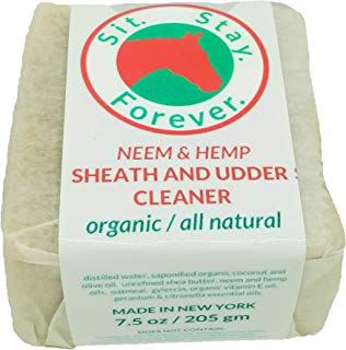 SIT. STAY. FOREVER. SAFETY FIRST PET PRODUCTS Organic Neem & Hemp Sheath and Udder Cleaner, 7 oz bar.