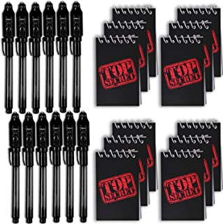HeroFiber Invisible Ink Spy Pen - Black - with UV Light (12 Pack) + Mini TOP Secret Notepads (12 Pack). - Perfect Favor for Spy Parties, Stocking Stuffers, Pinatas, Science Fairs, and More