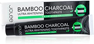 Jolee Activated Bamboo Charcoal Toothpaste 100g, Deep Cleaning Natural Vegan Teeth Whitening Active Black Carbon Charcoal with Mint Menthol Flavour, Fluoride Free, Teeth Stain Remover