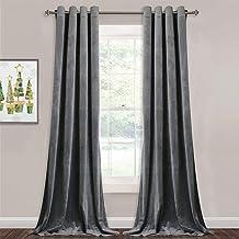 Grey Velvet Curtains for Living Room - 96 inches Long Light Blocking Velvet Curtain Panels Privacy Grommet Window Drapes f...