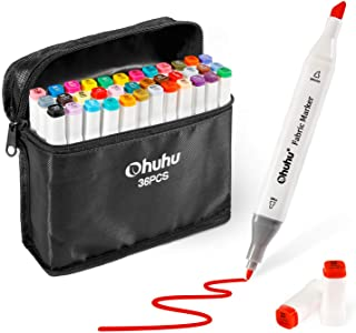 Fabric Markers Permanent 36 Colors of Ohuhu Dual Tip Fabric Paint Marker Pens for DIY Christmas Costumes, T-Shirt, Clothes...