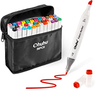 Fabric Markers Permanent 36 Colors of Ohuhu Dual Tip Fabric Paint Marker Pens for DIY Christmas Costumes, T-Shirt, Clothes, Shoes, Bags & Other Fabric Materials, Child Safe, Water-Based Christmas Gift