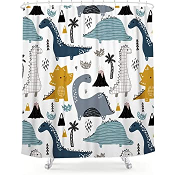 Black and White Stripes Cartoon Dinosaur Shower Curtain Set Waterproof Fabric