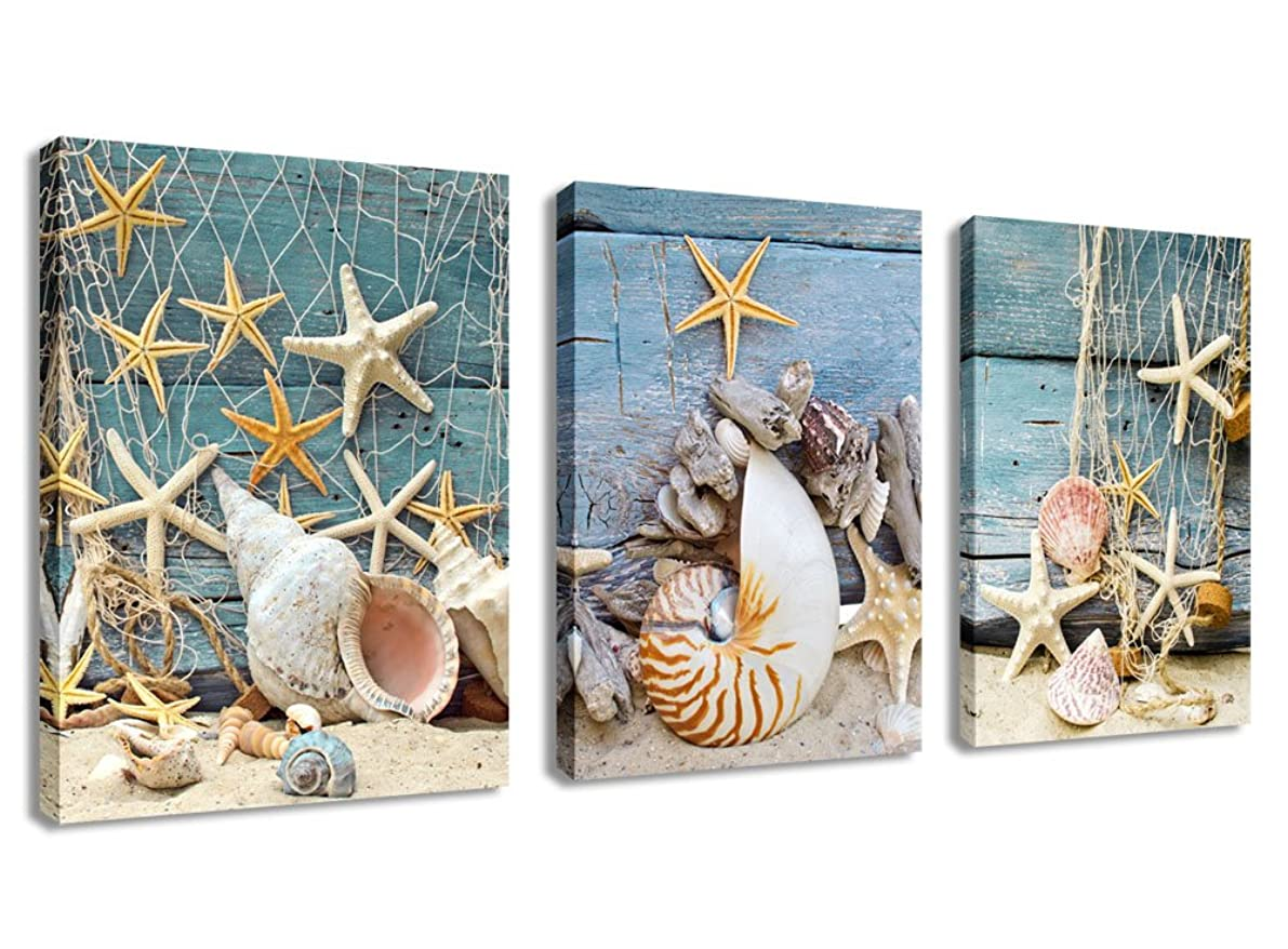 Canvas Wall Art Bathroom Wall Decor Starfish Shell Fishing Net Sands Beach - 3 Pieces Contemporary Pictures Modern Canvas Artwork for Home Decoration Framed Ready to Hang Gray Blue Themes 12
