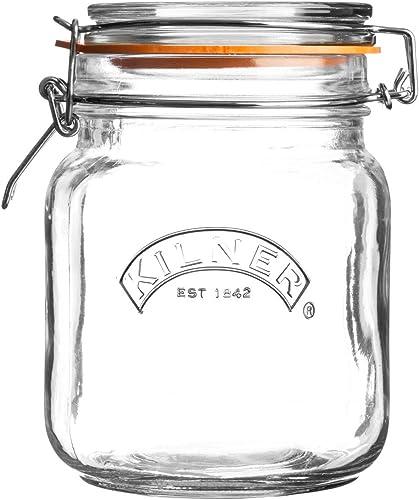 Kilner Square Clip Top Jar, 1L, Transparent 01653