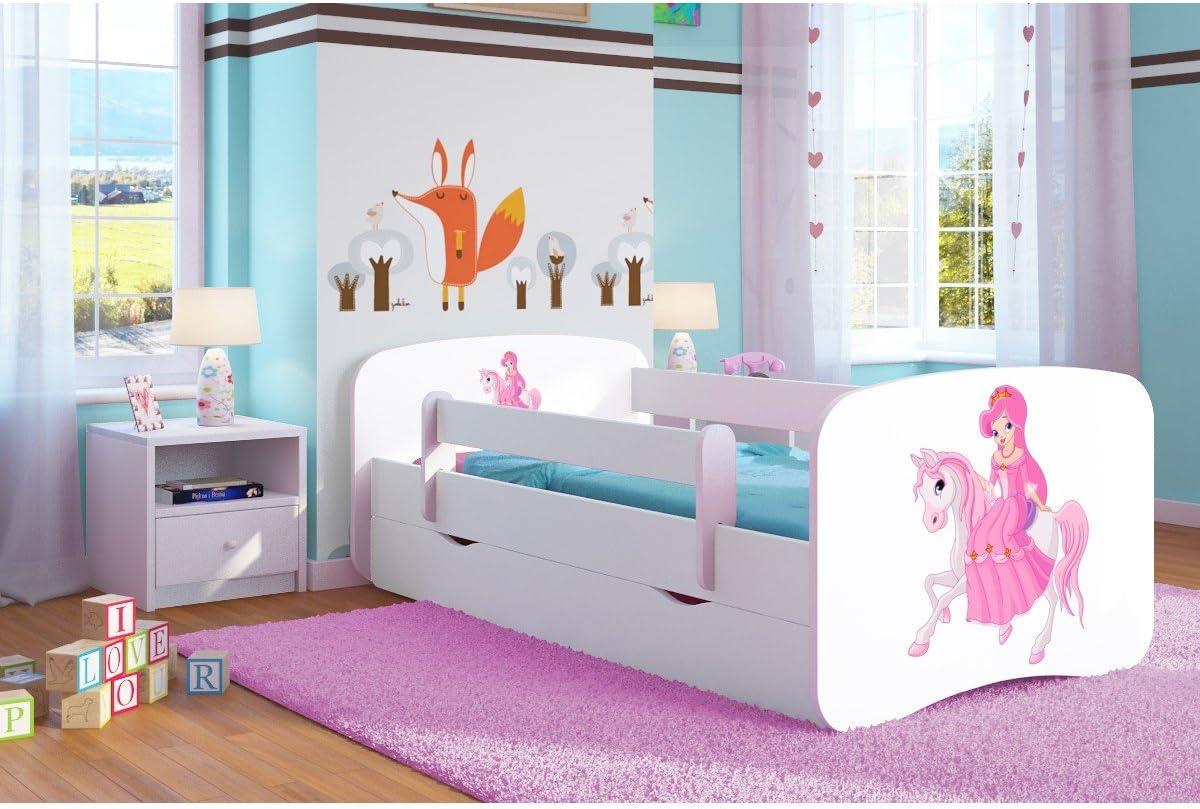 Kinderbett Jugendbett 70x140 80x160 80x180 cm Wei/ß mit Rausfallschutz Schublade und Lattenrost Kinderbetten f/ür M/ädchen und Junge Bagger 140 cm