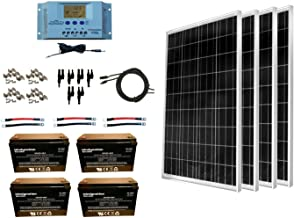 WindyNation 400 Watt Solar Kit: 4pcs 100W Solar Panels + P30L LCD PWM Charge Controller + Mounting Hardware + Cable + MC4 Connectors + AGM Battery for RV, Boat, Cabin, Off-Grid 12 Volt System