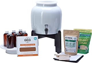 Kombucha Continuous Basic Brew Kit System - Drink Kombucha Tea On Tap (Making A Lifetime Of Home Brewed Kombucha Tea Easy For You) GetKombucha® - Includes 2.5 Gallon Porcelain Brewing Vessel w/ Handcrafted Wood Brewer Stand - Non Dehydrated HUGE Organic Kombucha SCOBY Cultures w/ Free Live Starter Mother Liquid - Organic Whole Leaf Tea Blend and Sugar - Bottles For Flavoring - Ph Strips - All Natural Ingredients for Flavor, Energy, Digestion, Weight Loss, Health and Happiness - Recipe Guides - Our Crock Jars with Dispenser Spigot are Triple Certified Lead Free and Guaranteed To Make Twice As Much Booch In Half The Time !