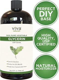 Glycerin (32 fl.oz) - 100% Pure Vegetable Glycerin, USP Certified, Perfect Soap Base for DIYs, Bubble Bath, Natural Hair and Face Moisturizer for Dry Skin, and Glycerin Soap (43 Ounces Net Weight)