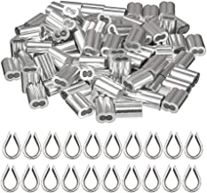 """Cyful 1/8"""" Aluminum Crimping Loop Sleeves and Thimble for Wire Rope and Cable-100x20pcs"""