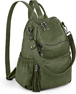 UTO Women Backpack Purse PU Washed Leather Convertible Ladies Rucksack Tassel Zipper Pocket Shoulder Bag Green Size: Large