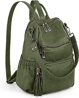 UTO Women Backpack Purse PU Washed Leather Convertible Ladies Rucksack Tassel Zipper Pocket Shoulder Bag Green Size: Large