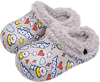 Nasogetch Girls Boys Slippers Kids Plush Winter Warm House Shoes Clogs Anti-Slip with Removable Liner Waterproof
