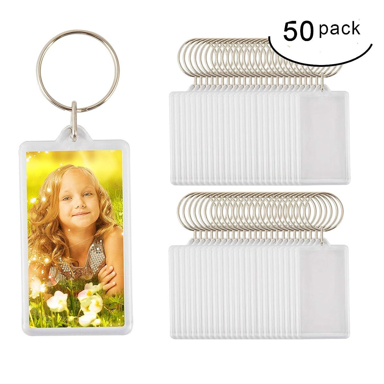 50pcs Custom Personalised Insert Photo Acrylic Blank Keyring Keychain Wholesale(Size:2
