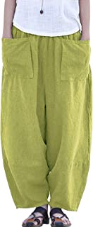 IXIMO Women's Linen Pants Casual Wide Leg Cropped Relax Fit Pants Front Pockets Capris